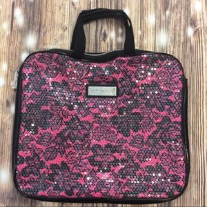 Betsey Johnson Black & Pink Sequined Laptop Bag